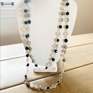 Premier Designs Pearl Crystal Necklace Black  Gray